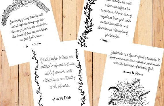 LDS GRATITUDE QUOTES + FREE COLORING PAGES