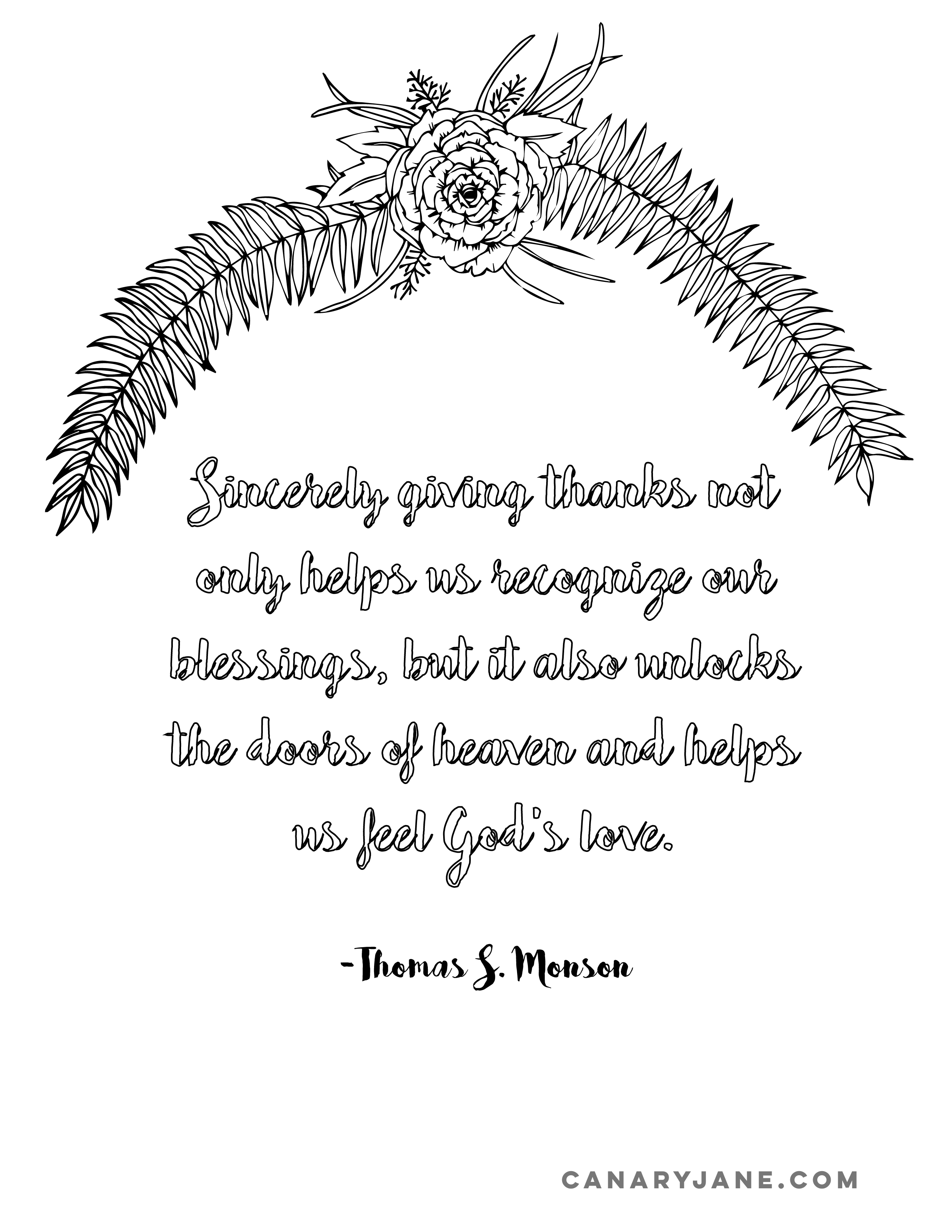 Thomas s monson quote canary jane for Thomas s monson coloring page