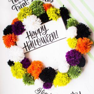 halloween pom pom wreath