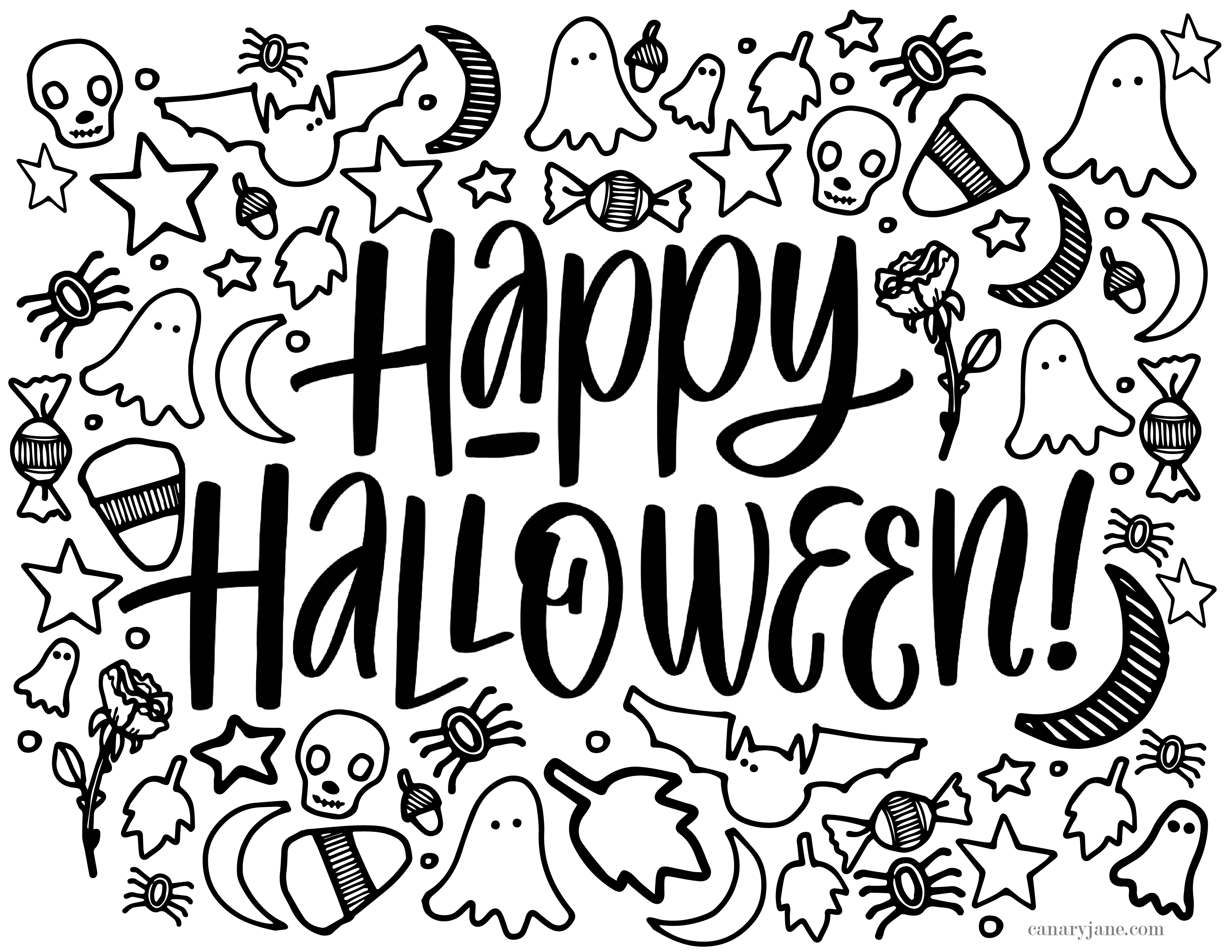 Free Printable Halloween Prints & Coloring Pages - Canary Jane