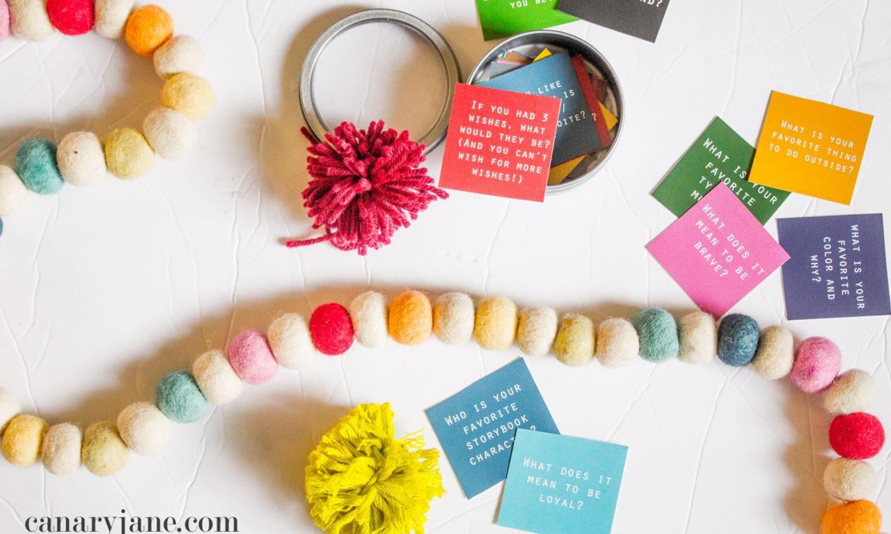 Family Conversation Starter Kit Free Printable Gift - Canary Jane