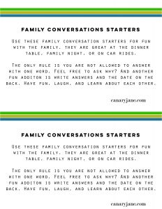 family conversation starter free printable