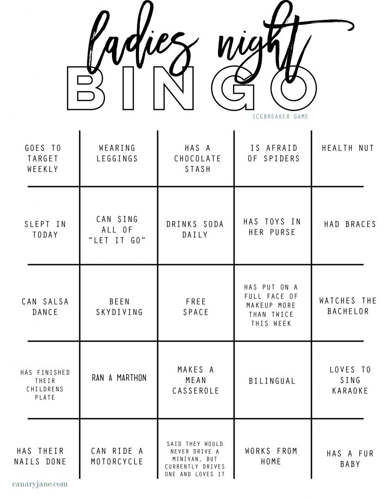 Best Ladies Night Out Bingo Icebreaker Free Printable To Get The Party Started Canary Jane
