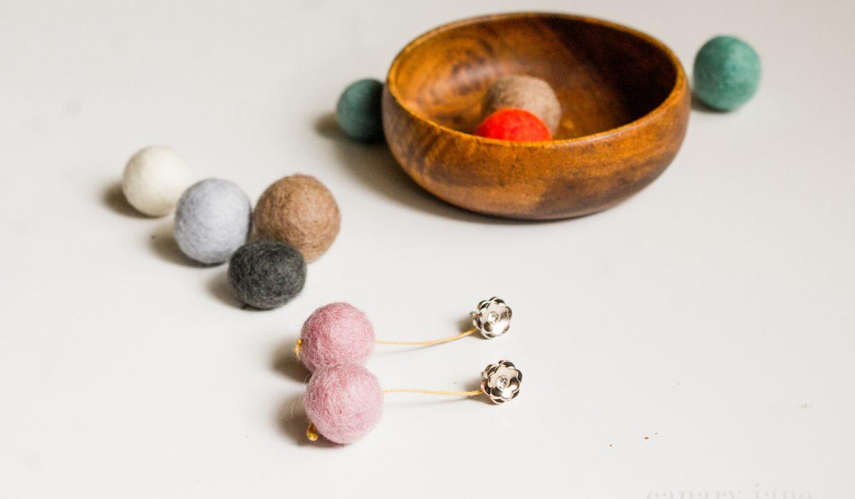 felt ball earring DIY craft 1006