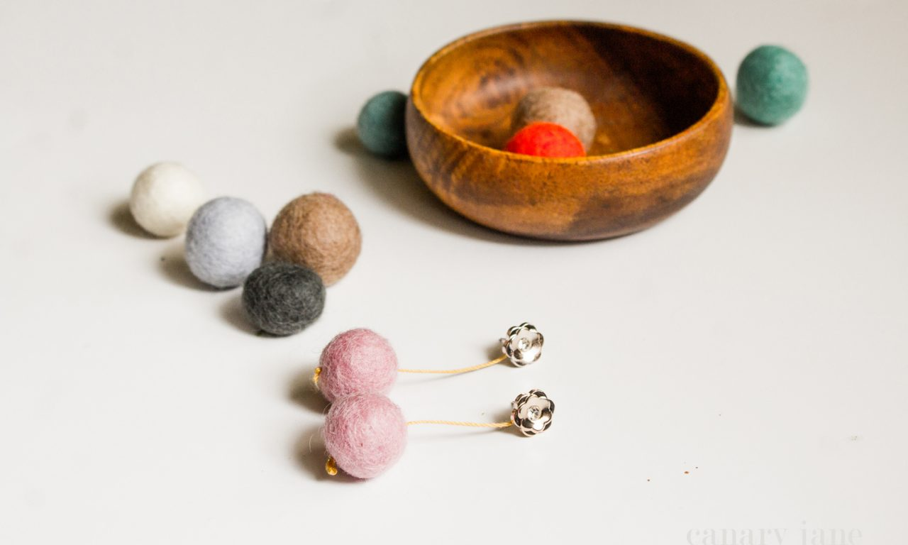 felt ball earring DIY craft 1006