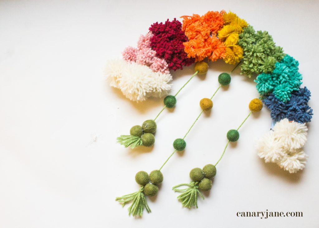 DIY St. Patrick's Day Rainbow Pom Pom Wreath