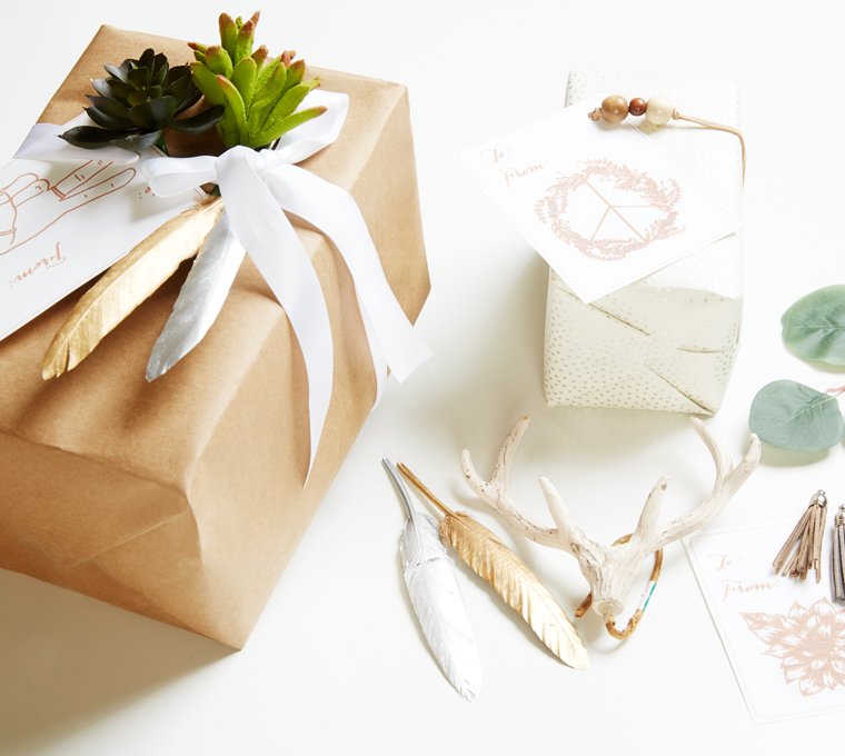 Ways to add embellishments to presents using these free printable gift tags. Check out the classic Christmas gift wrapping ideas as well as the bohemian christmas gift wrapping ideas. Canary Jane