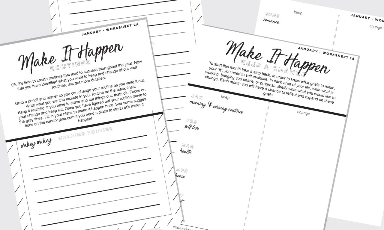 I'm walking into this year with a plan. And I'm proud of it! Here are some ways you can make plans for this next year and make goals. Print off these free Make it Happen planning and goal making worksheets make it happen goal setting worksheets
