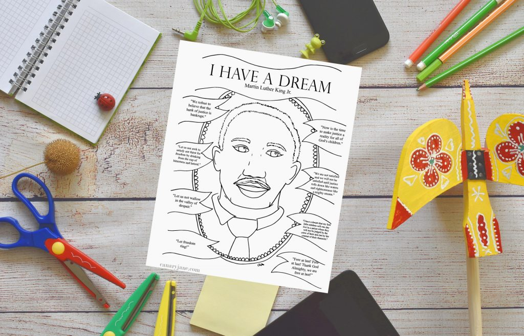 "I wanted to plan an activity for Martin Luther King Day that would teach my children why we celebrate. So I created this free interactive free printable to go along with Martin Luther Kings famous ""I Have a Dream"" speech. Scroll to the bottom to print off the free coloring page. Or read through a list of free online activities and books."