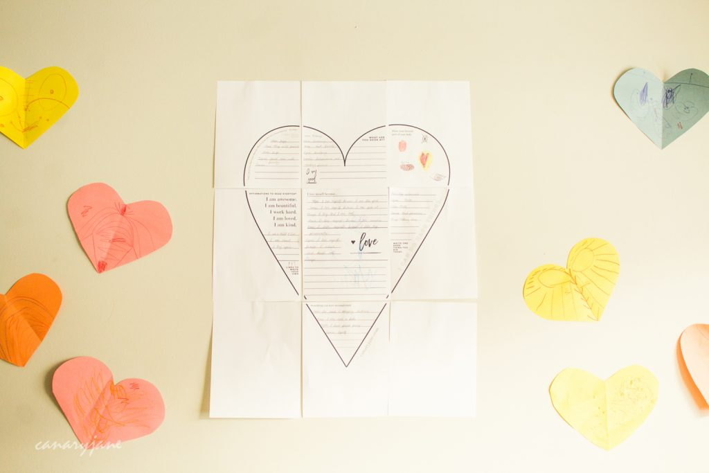 I created these self love worksheets that when completed and hung make a giant self love poster.