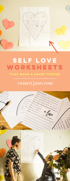 For this month I like to not only have fun with Valentines Day but also focus on self love. Why not spread the right? And I have personally found that when I love myself I love others more too. So as I set intentions this month, I realized I wanted to teach my children self love. So I created these self love worksheets that when completed and hung make a giant self love poster.
