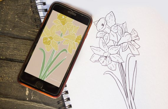 March Daffodil Birth Flower Background & Coloring Page