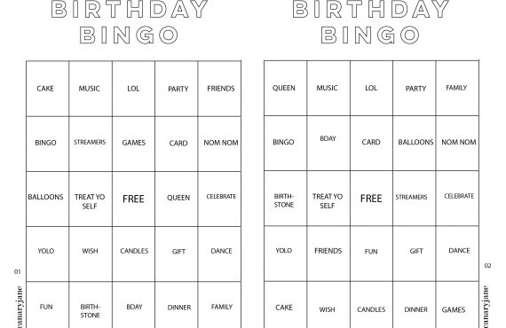 Birthday Bingo Free Printable