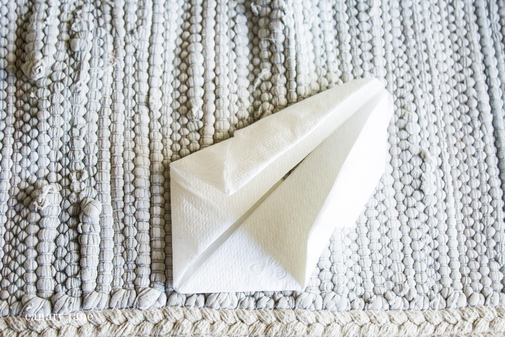 Make and fold these Easter Bunny napkins for Easter dinner. They're super easy and inexpensive and the kids will love them. They took me a couple minutes to make.