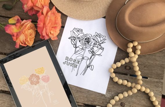 June Rose Birth Flower Background & Coloring Page