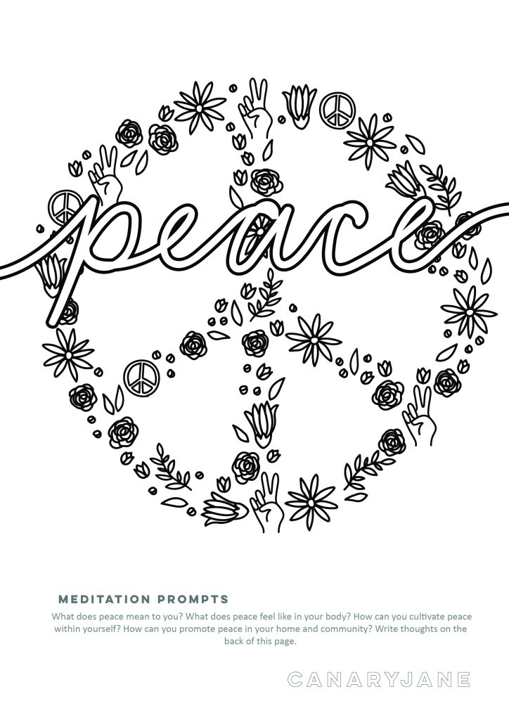 Print off these floral inspired peace, love, and unity coloring pages for free. Grab some color pencils, markers, or crayons for color and meditate. Each coloring page has some meditation prompts to ponder while you color. And then you can write what you meditated on the back.