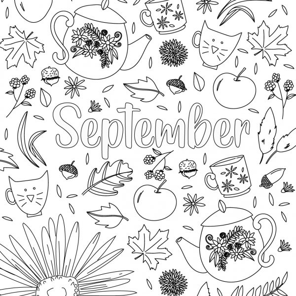september free coloring page