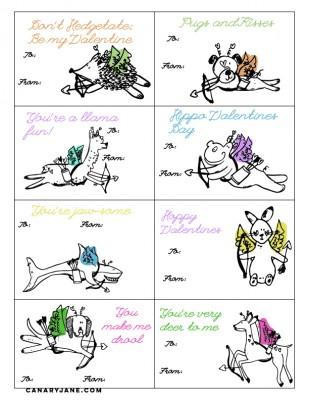 Animal Valentines Free Printables
