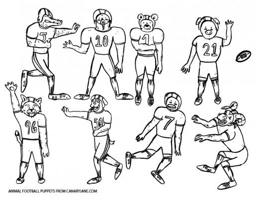 free printable football puppets canary jane-01