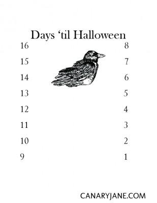 halloween countdown bird